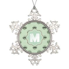 Mint Hipster Mustaches Ornament
