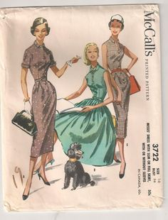 1950s McCalls 3722, love that you can make it a slim or full skirt