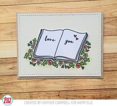 Heather Campbell for Avery Elle using our This Book stamp set and dies, sentiment from our More Stories stamp set and Dotted card panel.