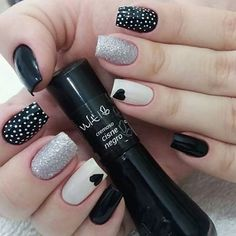 New Collections of Best Valentine's Day Nail Art Design Heart shape always plays an important role in nail art designs. When you have a nail art ideas Nail Art Designs, Black Nail Designs, Nails Design, Cute Acrylic Nails, Cute Nails, Pretty Nails, Polka Dot Nails, Polka Dots, Fall Nail Art