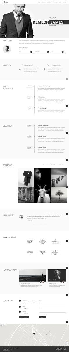 Stunning online portfolio or resume template. #portfolio #wordpress #digitalresume