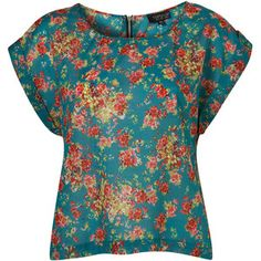 Top Shop Jade Bright Floral Print Tee Jade bright floral print t-shirt with turn back sleeves and zip back detail. 100% cotton.