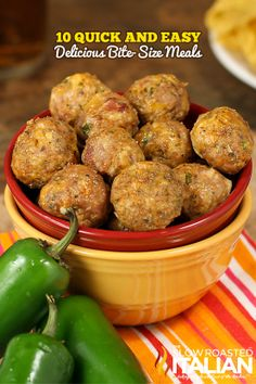 10 Quick and Easy Bite-Size Meals. 10 Quick and Easy Bite-Size Meals (Perfectly Freezeable too). Meatball Recipes, Meat Recipes, Mexican Food Recipes, Appetizer Recipes, Dinner Recipes, Cooking Recipes, Healthy Recipes, Ethnic Recipes, Yummy Appetizers
