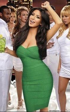 Herve Leger outlet Kim Kardashian Strapless Bandage Dress green.