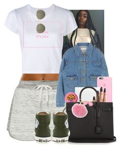 """"""""""" by mxnvt ❤ liked on Polyvore featuring Calvin Klein, RE/DONE, Christian Louboutin, Yves Saint Laurent, Converse, Ray-Ban and MICHAEL Michael Kors"""