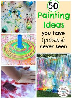 Crazy creative painting ideas for kids to try! Try painting with spaghetti or spices or print making! These painting art projects are too clever not to check out. Preschool Art Activities, Preschool Arts And Crafts, Painting Activities, Creative Activities, Crafts For Kids, Children Activities, Preschool Learning, Easy Crafts, Painting For Kids