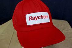 Raychem Worker Patch Trucker Hat Baseball Cap Red White Adjustable Mesh USA Made # #TruckerHat