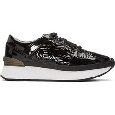 Kenzo Black Flying Logo Sneakers ($245) ❤ liked on Polyvore featuring shoes, sneakers, black, black patent shoes, black trainers, platform shoes, kenzo shoes and black sneakers