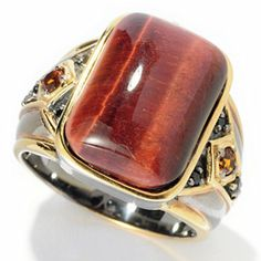 Mens en Vogue II 18 x 13mm Tiger Eye, Madeira Citrine & Black Spinel Ring