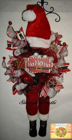 Santa Mesh Swag Wreath Santa Mesh Wreath Santa by StarlightWreaths