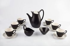 Midwinter Pottery Coffee set stylecraft range in the 'Fashion' shape comprising coffee pot, milk Under The Hammer, Coffee Set, Tea Set, Pottery, Shapes, Ceramics, Glass, Illustration, Image
