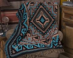 Accent Throw -Navajo Turquoise Colorful, soft woven southwestern throws are fabulous for rustic home decor and a cozy cover.Colorful, soft woven southwestern throws are fabulous for rustic home decor and a cozy cover. Southwestern Throws, Southwest Decor, Southwestern Decorating, Southwest Style, Southwest Rugs, Native American Decor, Native American Fashion, Native American Bedroom, Native American Blanket
