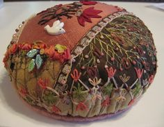 CQMagOnline.com - The world's first online magazine for Crazy Quilting - Article - Crazy Quilted CD Pincushion