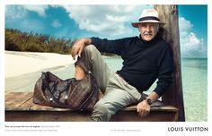 """Louis Vuitton - """"There are journeys that turn into legends"""". Sean Connery, Bahamas Islands. Photo by Annie Leibovitz"""