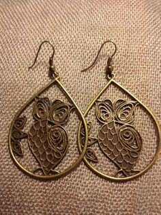 Antique Bronze Owl Earrings