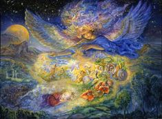 Golden Slumbers by Josephine Wall  Twinkling stars and a giant moon herald the arrival of the 'Angel of sweet dreams'. She hovers over the slumbering village, sprinkling 'sleepy dust' to vanquish all nightmares, creating enchanting visions of swans flying with unicorns, lambs gambolling with butterflies, and a peacock strutting among giant poppies. She will wake on the morrow to meet the day, but will she remember her beautiful dream?