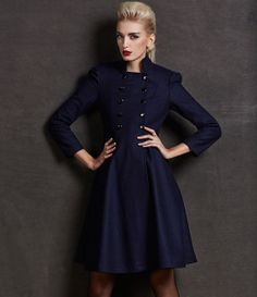 Dark Blue Wool Long Jacket Trench Coat