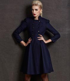 Dark Blue Wool Long Jacket Trench Coat