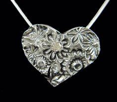 Artisan Flowers hearts silver necklace by MandanaStudios on Etsy, $76.00