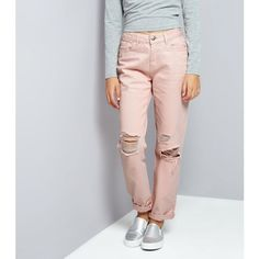New Look Teens Shell Pink Ripped Mom Jeans ($29) ❤ liked on Polyvore featuring jeans, shell pink, new look jeans, distressed jeans, pastel jeans, destruction jeans and destroyed jeans