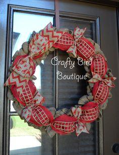 Crawfish Red Burlap Chevron Summer Wreath by CraftyBirdBoutique