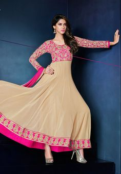 Beige Faux Georgette and Art Silk Abaya Style Churidar Kameez: KAH423