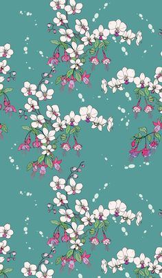 Floral seamless pattern. Orchids and fuchsia.