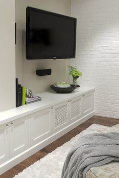 Basement Family Room & Media - modern - media room - toronto - by Leslie Goodwin Photography Cozy Family Rooms, Family Room Design, Basement Storage, Basement Walls, Modern Basement, Basement Ideas, Built In Cabinets, Tv Cabinets, White Cabinets