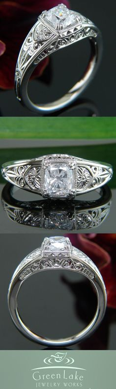 Antique-inspired 14k X1 white gold ring with cushion-cut center diamond and handcrafted filigree in the side face.