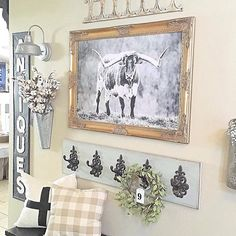 That Cow #walldecor is FABULOUS Lacey! Our Antique Sign looks great too! Thanks for sharing! #decoratingideas