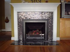 Gas fireplace glass surround | ... is a link that might be useful: vihara glass tile in minka iridescent