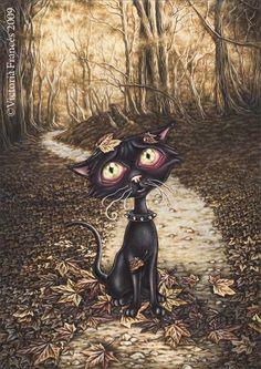 Misty Circus 1 - black cat by Victoria Frances Magic Creatures, Gothic Artwork, Ouvrages D'art, Black Cat Art, Black Cats, France Art, Goth Art, Vampire, Paranormal