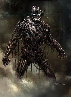 Countdown to #AvengersAgeOfUltron continues with another concept painting I did of Ultron Mark 1 roughly 2 years ago