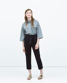 Image 1 of TIE-WAIST TROUSERS from Zara