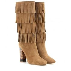 Burberry London Jazmine Fringed Suede Boots (€1.305) ❤ liked on Polyvore featuring shoes, boots, brown, fringe boots, suede fringe boots, burberry, fringe shoes and suede leather boots