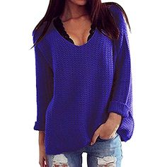 Genluna Womens Casual VNeck Hollow Knit Pullover Loose Tops Sweater Medium Blue -- Want additional info? Click on the image.