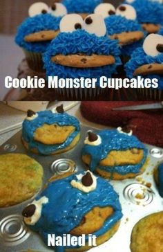 cookie monster cupcakes - nailed it!