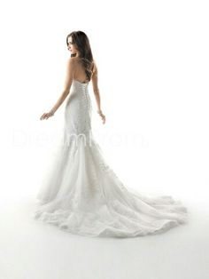 Strapless mermaid dress with sweep train