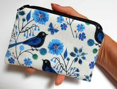 Organic Perched Birds Zipper Pouch Little ECO Friendly Padded Coin Purse by JPATPURSES
