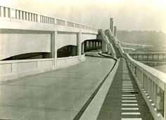 The lower deck of the Western Hills Viaduct from Harrison Ave, looking east. (early 1930's) How clean - bright & new it all looks....