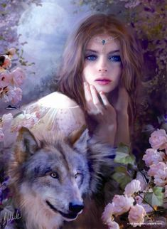 Wolf Princess with Fairy Face /Bente Shlick art- Germany