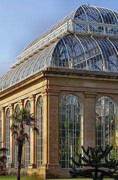 amazing windows of the Glasshouse in the Royal Botanic Garden, Edinburgh, Scotland