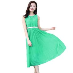Partiss Damen Candy Color lang Vintage Boho Tuchkleid Abendkleid Chiffonkleid Sommerkleid, chinese L,green