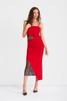 Red triacetate crepe skirtwith an asymmetrical hem and mesh under layer. Complete the look with... Crepe Skirts, Cami, Strapless Dress, Mesh, Model, How To Wear, Dresses, Fashion, Strapless Gown