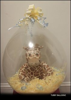 Gentle Giraffe Balloon! (You can choose any color for the filling)... In case you are wondering they last over 1 month if not longer! www.Tubbyballoonz.com