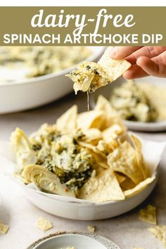 This dairy-free spinach artichoke dip is rich, creamy and flavorful! Made with a mix of caramelized onions, artichoke hearts and dairy-free cream cheese, it's sure to be a crowd favorite. #dairyfree #spinachartichokedip #appetizers Gluten Free Recipes Side Dishes, Best Gluten Free Recipes, Gluten Free Recipes For Dinner, Easy Dinner Recipes, Whole Food Recipes, Holiday Recipes, Artichoke Dip Cream Cheese, Vegan Spinach Artichoke Dip, Dairy Free Appetizers