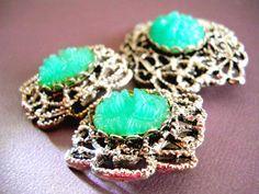Peking Glass Brooch Molded Green Earrings Vintage by LakeBreezes, $48.00