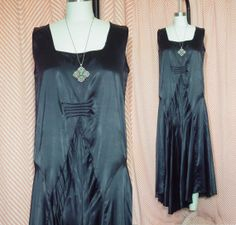 Vintage 20s Dress Black Satin Drop Waist 1920s Sleeveless Flapper Gatsby Flawed Study Theater on Etsy, $88.00