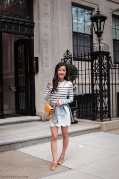 casual cute summer outfit with flats from extra petite blog