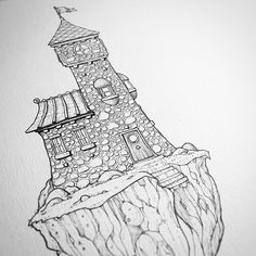 Heres a great #penandink #fantasyarchitecture #illustration by @thisnorthernboy (Rob Turpin) that I just stumbled upon. A lone tower with auxiliary attached building stands upon a floating chunk of stone.  Has it always been isolated and separate from the ground below? I believe not for why would you build stairs leading down to... absolutely nothing? Those stairs must have lead you somewhere at some time long passed but no longer.  Or perhaps it was not an event that happened that long ago… How To Draw Stairs, Lighthouse Drawing, Castle Drawing, Castle Tattoo, Pen Design, Nature Drawing, Black And White Illustration, Fantasy Artwork, Puzzle Pieces